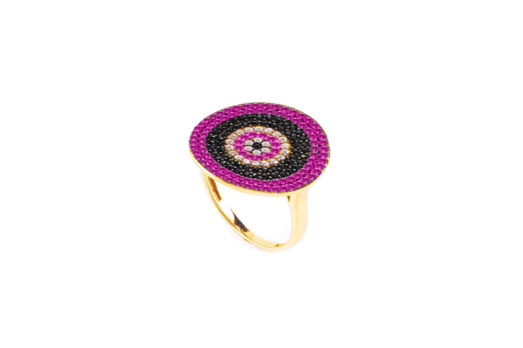 Grande Sterling Silver CZ Pink Beaded Ring - Boho Betty