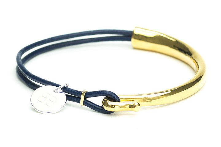 Loire Navy Leather Bangle