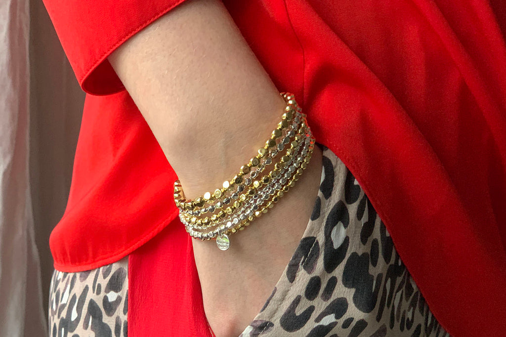 Samra Gold Stretchy Bracelet Duo - Boho Betty