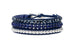 The Oscar - a combination of 3 layered Navy leather bracelets