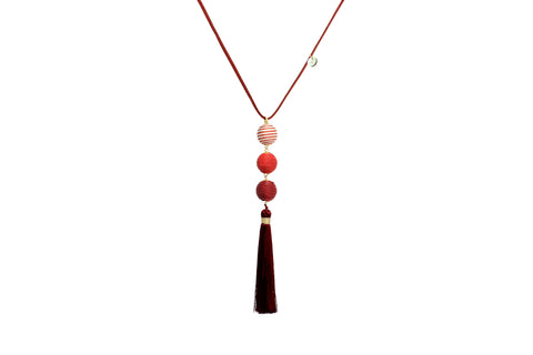 Kali Crimson Tassel Necklace