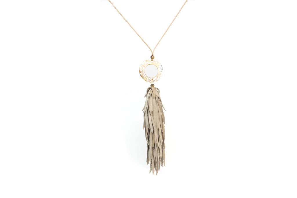 Ostara Natural Leather Tassel and Shell Necklace