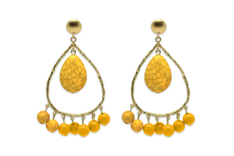 Polka Amber Tear Drop Earrings