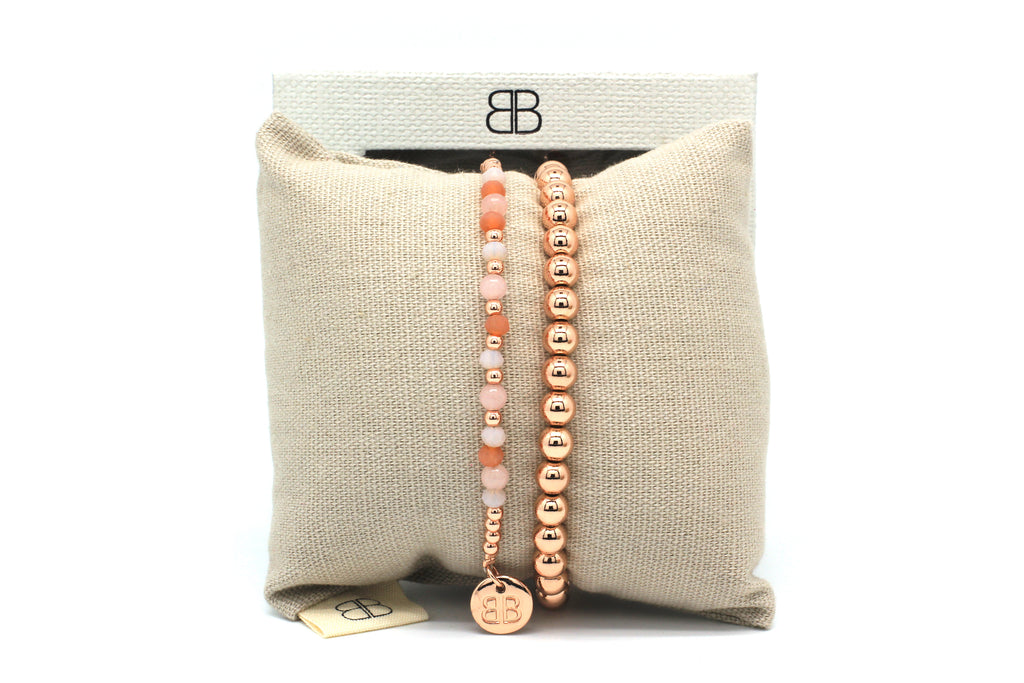 Arches 2 Layered Rose Gold Bracelet Stack