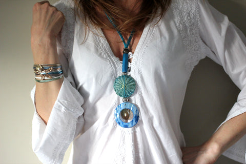 Libera Long Blue Disc Necklace
