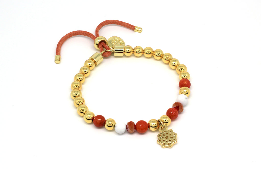 Sorna Orange Jade Stretch Bracelet