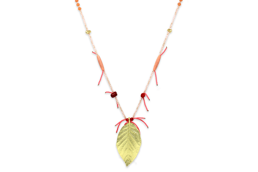 Freyja Pink Leaf Necklace