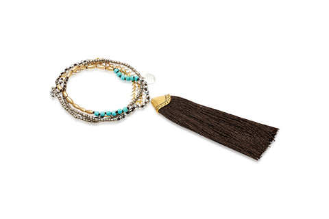 Amun Black Tassel Beaded Necklace
