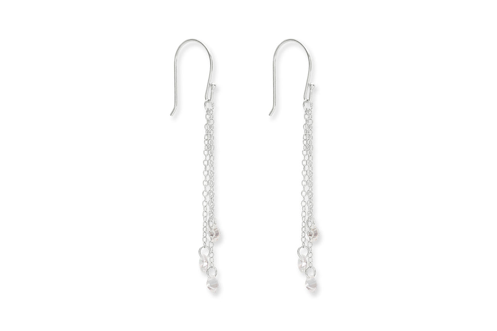 Armas Silver Crystal Drop Earrings