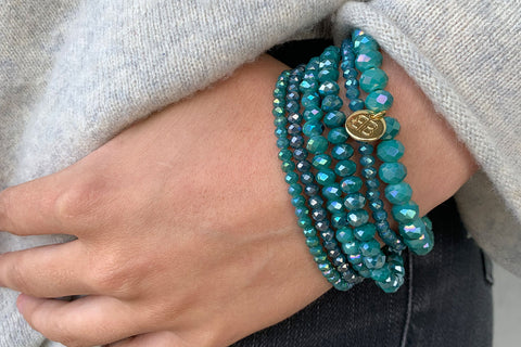 Dutar 6 Layered Teal Bracelet Stack