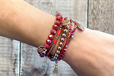 Fornax 4 Layered Red Bracelet Stack