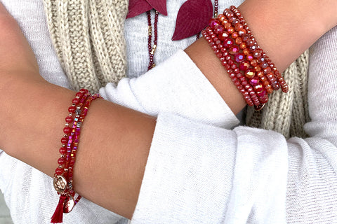 Laurentians 2 Layered Red Bracelet Stack