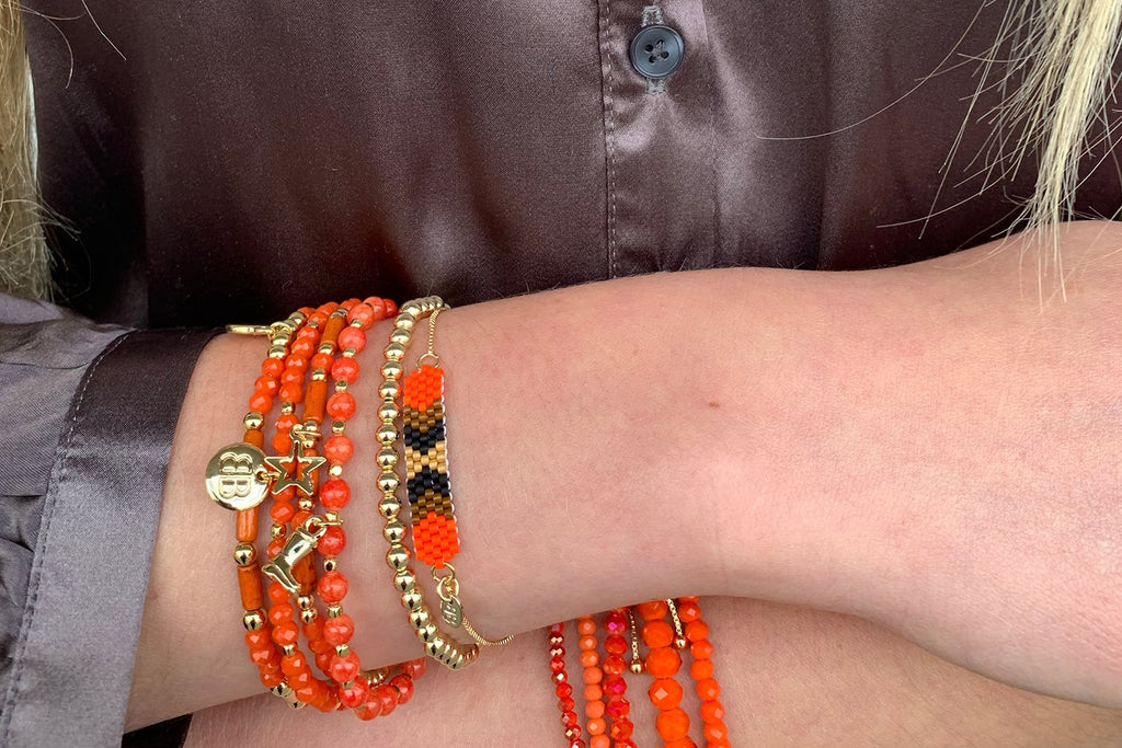 Sitar Orange Gemstone Agate Stretch Bracelet - Boho Betty