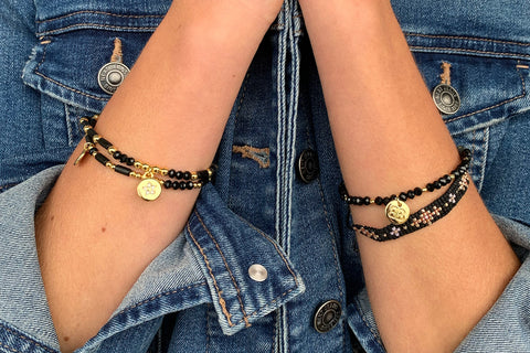 Mingan 2 Layered Black Bracelet Stack