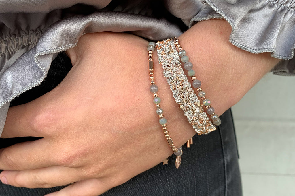 Mandolin Grey Star Macrame Bracelet - Boho Betty