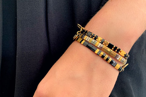 Suspicion 3 Layered Black Tila Bracelet Stack