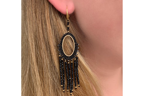 Bansuri Black Crystal Drop Earrings