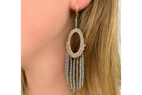 Bansuri Grey Drop Crystal Earrings