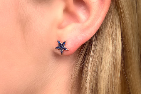 Barden CZ Silver Blue Star Earrings