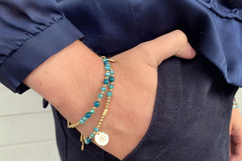 Cornet 2 Layered Teal Bracelet Stack