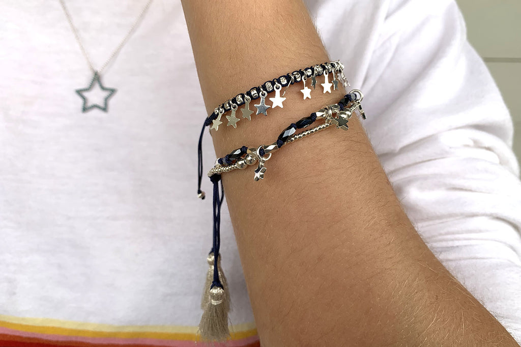 Oboe Silver 2 Strand Star Friendship Bracelet - Boho Betty