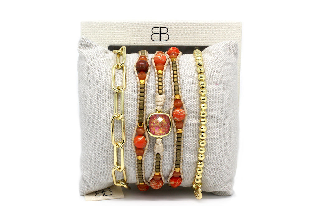 Adana 3 Layered Orange & Gold Bracelet Stack - Boho Betty