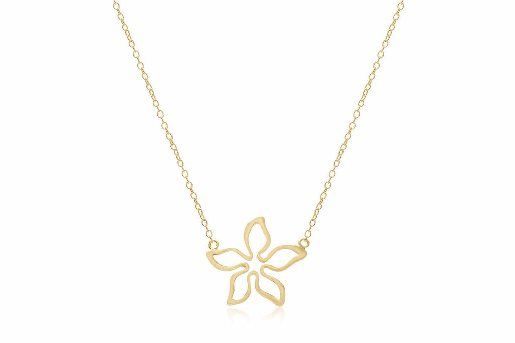Adriatic Gold Short Necklace with Flower Charm
