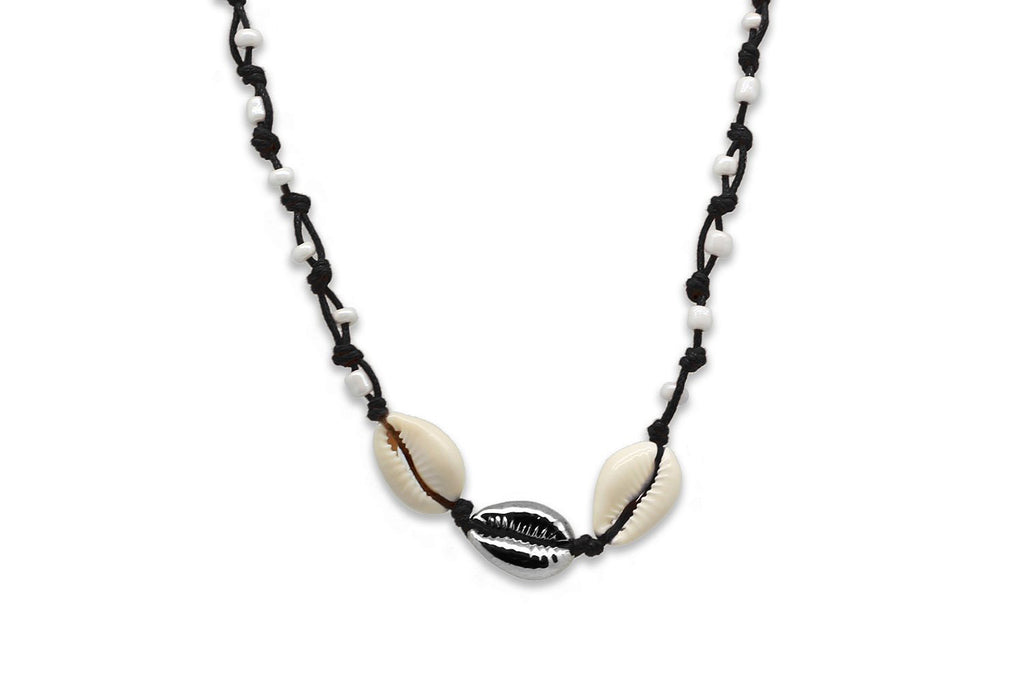 Aetna Silver/Black Shell Necklace