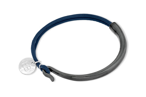 Allier Navy Leather Bangle
