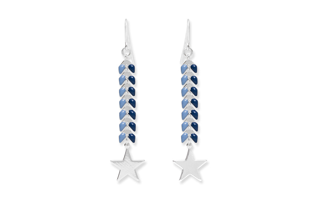 Eloko Blue Star Drop Earrings
