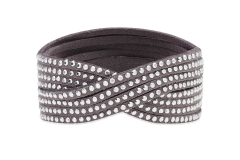Clara - a combination of 3 layered Silver leather bracelets