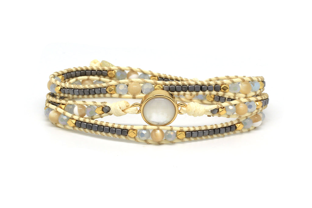 America Pearl Gold Leather 3 Wrap Bracelet