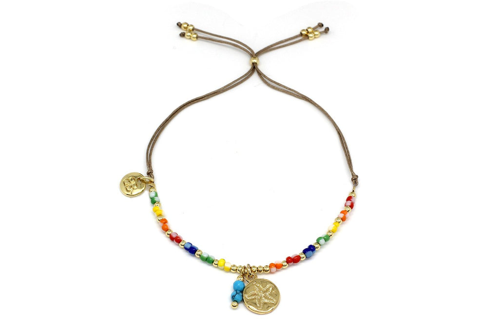 Amrum Multicolour & Gold Charm Bracelet - Boho Betty