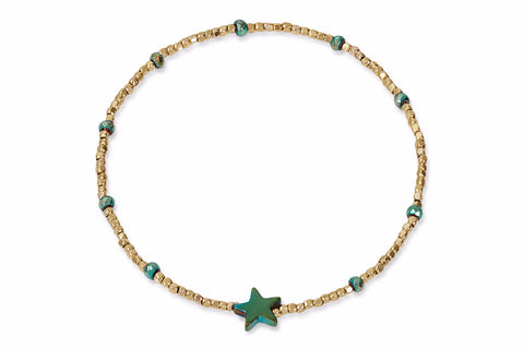 Ananke Green & Gold Star Stretch Bracelet