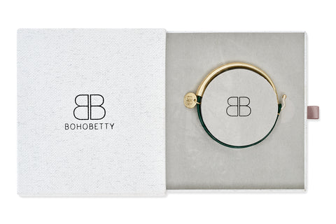Andelle Green Leather & Gold Bangle Gift Set