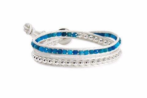 Andromeda White Leather 2 Wrap Bracelet with Turquoise Crystals and Silver Balls