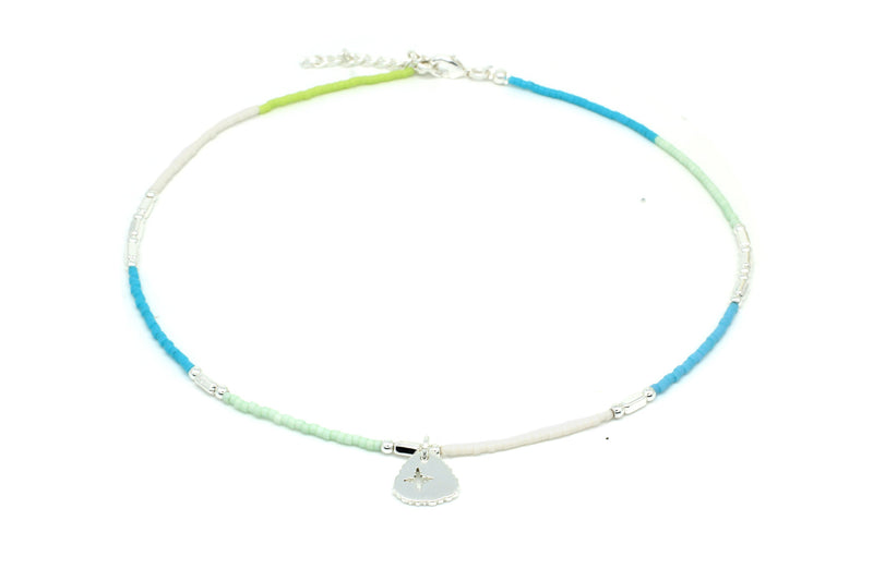 Apollo Silver & Mint Bead Short Necklace - Boho Betty