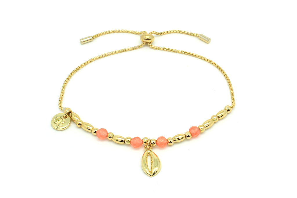 Aprium Coral & Gold Shell Bracelet - Boho Betty