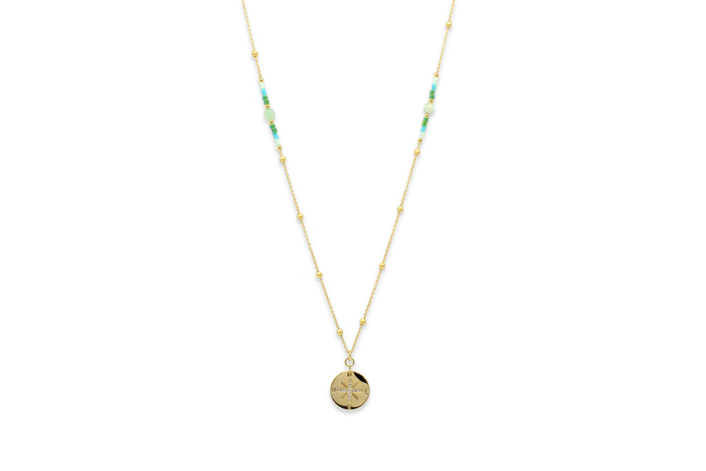 Asteria Gold & Mint Long Beaded Necklace