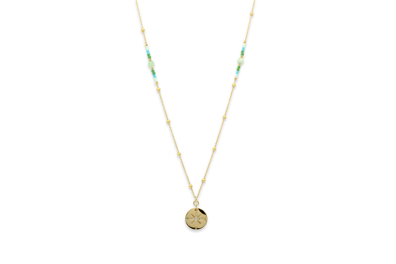 Asteria Gold & Mint Long Beaded Necklace - Boho Betty
