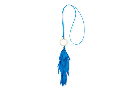 Aten Turquoise Lambskin Leather Tassel Necklace
