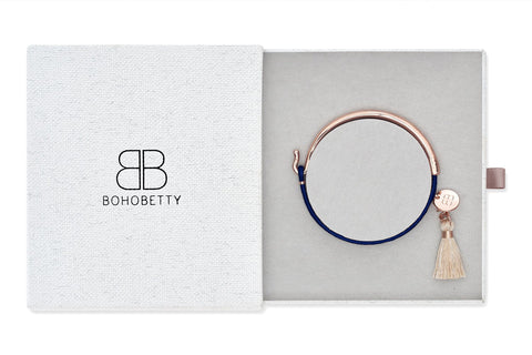 Aude Navy Leather Tassel  Bangle Gift Set