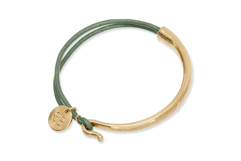 Arques Green Leather & Gold Bangle