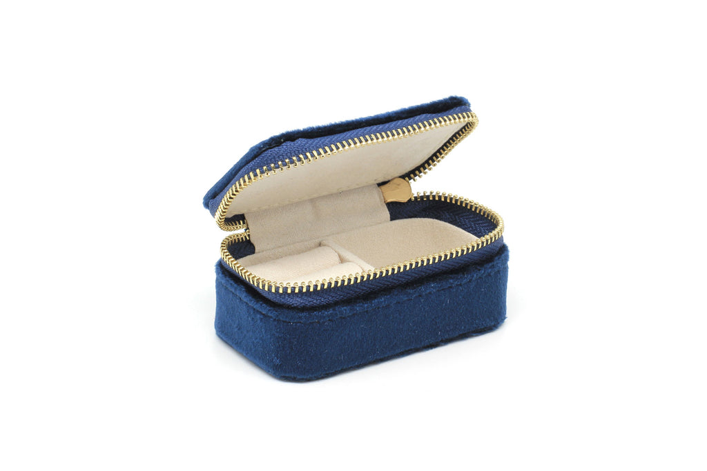 Carlotta Navy Velvet Mini Jewellery Box - Boho Betty