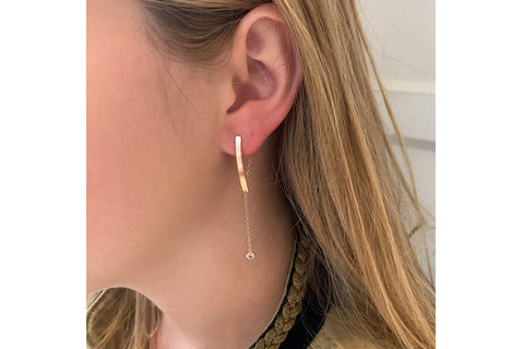 Rush Rose Gold Lariat Drop Earrings