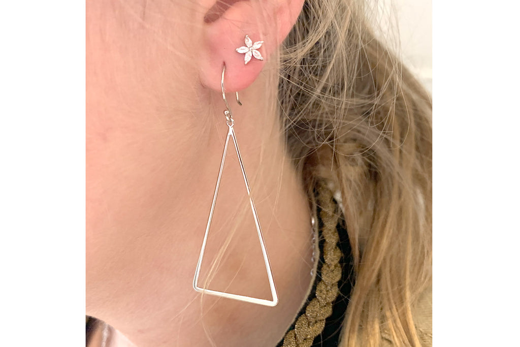 Ondra Silver CZ flower Earrings - Boho Betty
