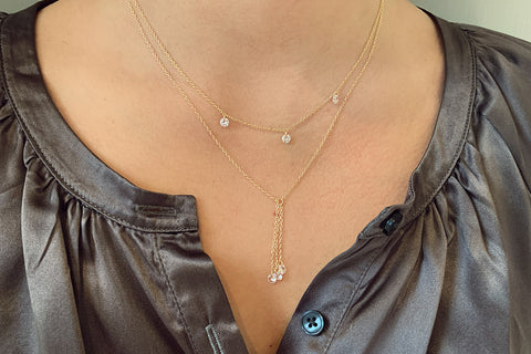 Ginsault Gold CZ 3 Chain Necklace