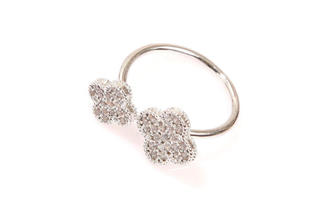 Clover CZ Silver Ring