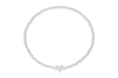 Apo Silver Beaded Stretch Bracelet with Star Charm