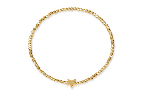 Benares Gold Beaded Stretch Bracelet with Star Charm